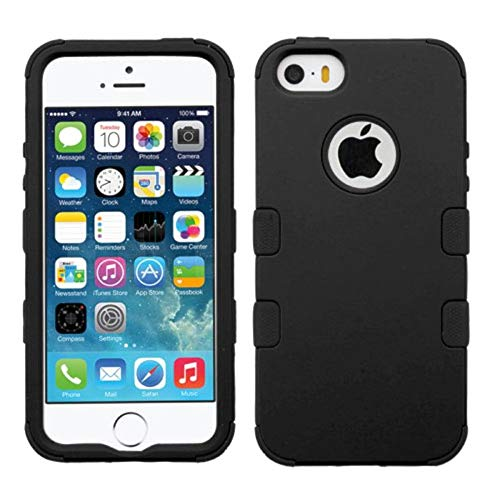 Insten Tuff Dual Layer [Shock Absorbing] Protection Hybrid Rubberized Hard PC/Silicone Case Cover Compatible with Apple iPhone 5/5S/SE, Black