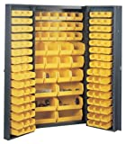 Edsal BC6200G 38-Inch Wide by 24-Inch Deep by 72-Inch High 132-All Plastic Bin Welded Storage Cabinet, Grey/Yellow