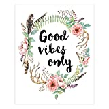 Good Vibes Only Floral Wreath Art Print -...