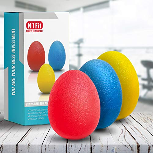 N1Fit Hand Grip Strength Trainer, Stress Ball for Adults and Kids, Hand Therapy Ball Squishy - Set of 3 Stress Relief Balls, Squeeze Balls Hand Exercise Tool