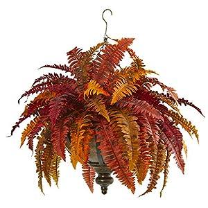 "Nearly Natural 28"" Autumn Boston Fern Artificial Hanging Metal Bowl Silk Plants Orange"