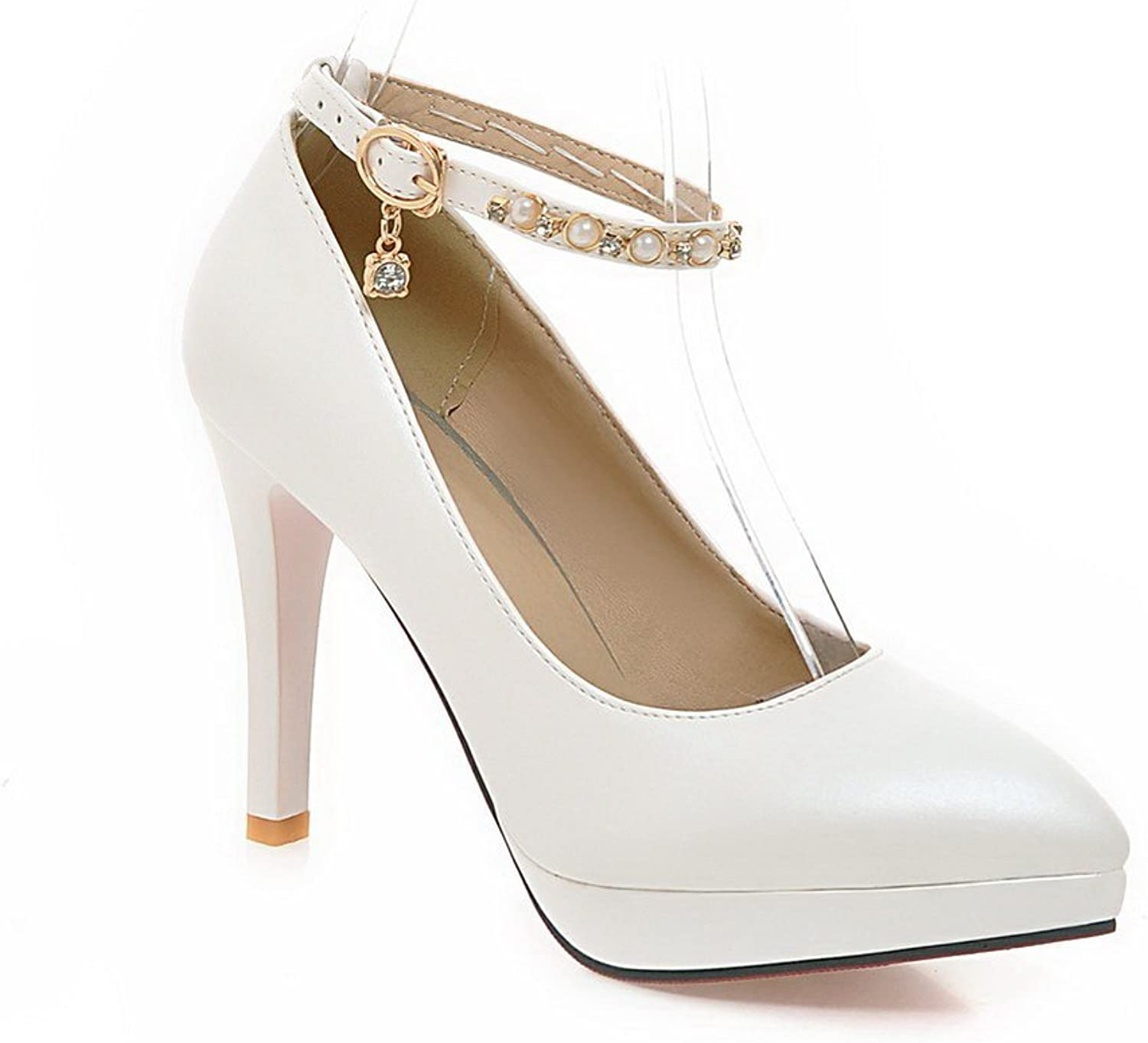BalaMasa Ladies Bead Studded Rhinestones Metal Buckles Ankle Cuff Imitated Leather Pumps-shoes