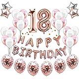 JeVenis 38 STÜCKE Rose Gold 18. Geburtstag Dekorationen Party Supplies Nummer 18 Geburtstag Luftballons Alles Gute zum Geburtstag Ballon Banner 18 Geburtstag Dekorationen für Sie