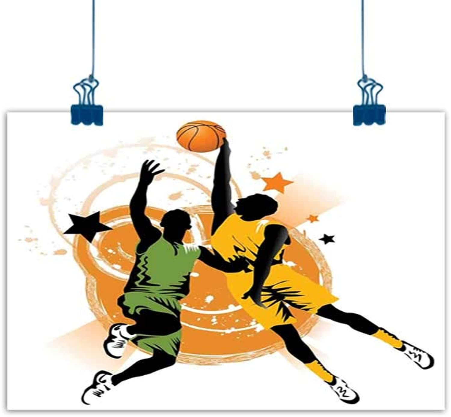 Wall Painting Prints Sports Decor,Image of Two Basketball Players in A Heated Game Rings Stars in The Background Print,orange Green for Boys Room Baby Nursery Wall Decor Kids Room Boys Gift 48 x32
