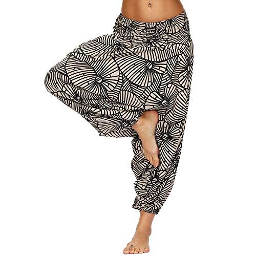 Nuofengkudu Damen Pumphose Aladin Thai Haremshose Hippie Bunt Muster Baggy Leichte Indische Yoga Hosen Hip Hop Sommer Strandhose(W-Braun,Einheitsgröße)