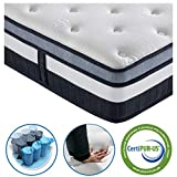 Vesgantti 11 Inch Pocket Sprung Mattress with Breathable Foam and Individually Wrapped Spring - Soft to Medium, Box Top Collection