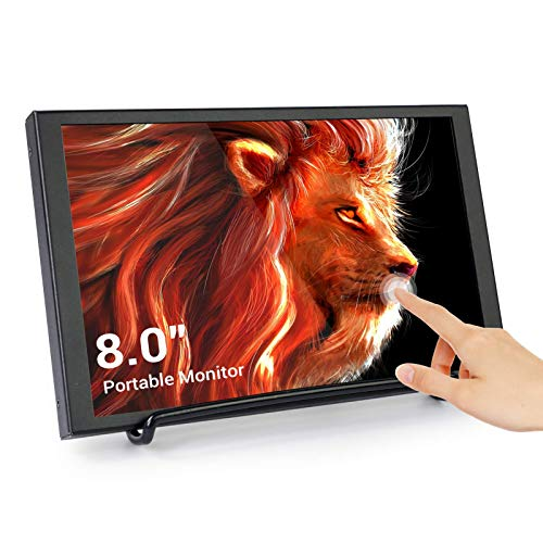 ELECROW 8 Inch Touchscreen Monitor Small HDMI Portable LCD Display 1280x800 with HDMI Port Built in Speakers USB Powered Compatible with Laptop, PC, Raspberry Pi, Game Consoles