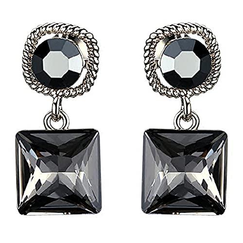AZPINGPAN Pendientes Cuadrados Negros de Cristal de circonita Tridimensional, Colgantes Cortos y Brillantes, Pendientes Americana, Pendientes de Plata de Ley 925 para Mujer, Exquisit