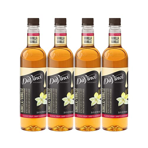 DaVinci Gourmet Classic Coffee Syrup Vanilla 25.4 Oz. (Pack of 4), Flavored Sweetener Syrup for Espresso Drinks, Tea, and Other Beverages, Suited for Home, Café, Restaurant, Coffee Shop