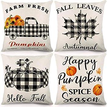 CDWERD Fall Pillow Covers 18×18 Inches Pumpkin Buffalo Check Plaid Decorative Autumn Theme Throw Pillowcase Farmhouse Fall Decorations Cushion Case for Home Decor Set of 4