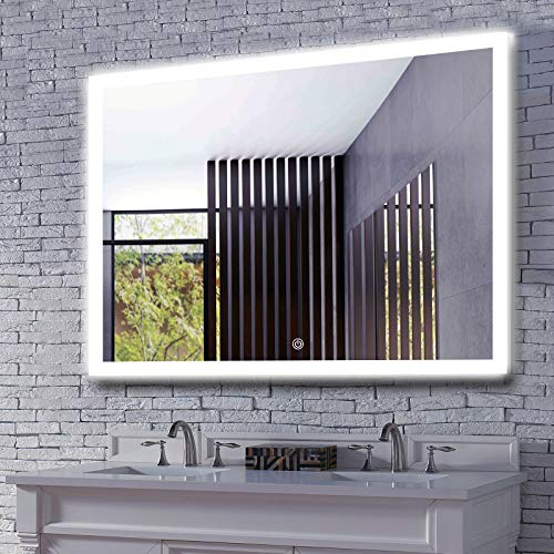 MAVISEVER 48x36 Inch LED Bathroom Wall Mounted Mirror with defogger, High Lumen Lights & True CRI 95+, CCT Adjustable, Smart Touch Button, Wall Mounted Vertical & Horizontal, Halo