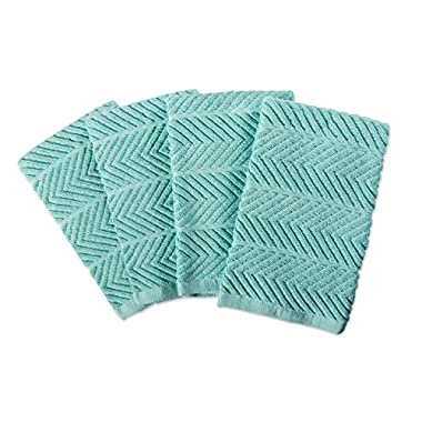 DII 100% Cotton Ultra-Absorbent Cleaning Drying Luxury Kitchen Chevron Bar Mop Dish Towels for Everyday Home Basic 16 x 19 Set of4- Aqua