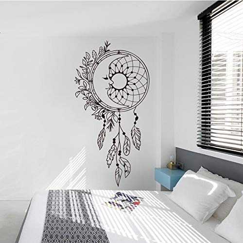 Atrapasueños pegatina de pared vinilo extraíble calcomanía creativa hermosa flor pegatina dormitorio sala de estar decoración de la casa pegatina de pared A2 XL 50x98cm