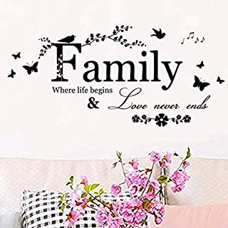 melestore Family Where Life Begins and Love Never Ends Wall Decals Laundry Decal Stickers Kitchen Room Bedroom Vinyl Quotes Decor Letters Boys Nursery Kids Quote
