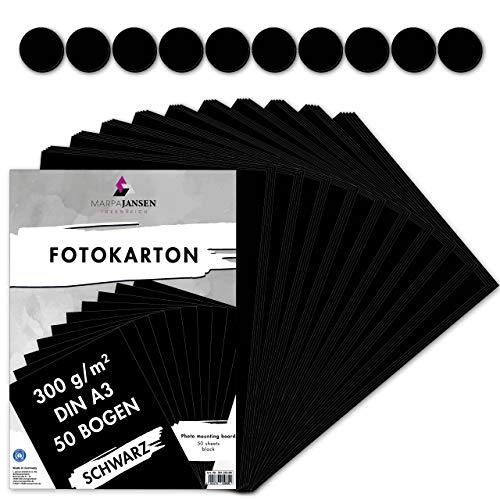 MarpaJansen Fotokarton in Schwarz, DIN A3, 50 Bogen, 300g/m² feste Bastelpappe für Cardboard und Scrapbooking, Blauer Engel zertifiziert