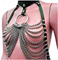 XINXINYU Women's Faux Leather Harness Punk Gothic Metal Chain Tassel Body Caged LockClothing Accessories …
