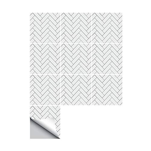JLCP 10 Piezas Pegatinas De Azulejos De Pared, Patrón De Espiga Blanca 3D Pegatinas De Baldosas para Cocina Y Baño Auto-Adhesivo PVC Impermeable Pegatinas Decorativas,30x30cm