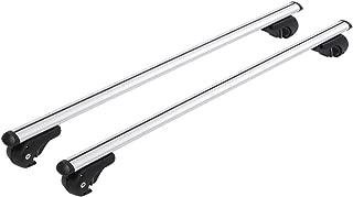 Qiilu 130cm Aluminum Alloy Universal Silver Car Roof Rack Cross Bar Lockable Rail Luggage Carrier