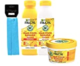 GARNIER FRUCTIS SET HAIR FOOD BANANA : SHAMPOO 350 ML + BALSAMO 350 ML + MASCHERA 390 ML + FASCIA PER CAPELLI