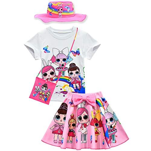 Baby Cute Dolls Konfetti Pop Tshirt + Rock + Tasche + Hut für Mädchen Lil Outrageous Little Girl Dress (style5, 110 (3-4 Jahre))