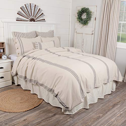 Best Review Of Piper Classics Market Place Duvet Cover, King Size, 92 x 108, Neutral Grey & Cream,...