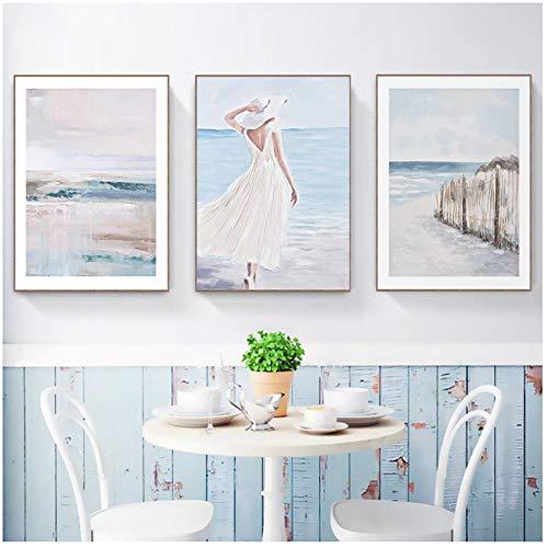 Stampa su tela Pittura a olio vintage Stampa su tela Immagine astratta di mare Ragazza rustica Poster da parete per sala da pranzo Decorazioni per la casa 20x30 cm / 7,8