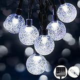 Guirnaldas Luces Exterior Solar, Hoteril Luces Navidad Guirnalda Solar de USB Recargable con 50 LED Bola de Cristal, Cadena de Luces LED para Decoración, Exterior, Jardín, Árbol, Patio, Boda, Navidad