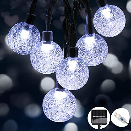 Catena Luminosa Esterno, Hoteril Catena Luminosa 8 Modi 50LED con Alimentato da USB o Solare, Luci per Esterno Impermeabile IP65, Stringa Luci Solari per Natale, Giardino, Terrazzo, Matrimonio, Festa