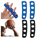 Wrzbest Basketball Shooting Trainer Aid Training Equipment Basketball Finger Spread Aids Posture Correction Device for Youth and Adult - Pack of 4, Blue and Black (L for Plam 8.5-9.5cm(3.35-3.74 in))