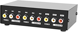 Panlong 2 Port AV RCA Switch 2 in 1 Out Composite Video L/R Audio Switcher Selector Box for DVD Player, Sega Genesis, SNES...