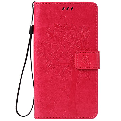 Wmchiwan Mobile Phone Case TPU Bumper with Card Slots Holder with Detachable Wrist Strap Flip Wallet Cover Cat and Tree Embossed Compatible with Sony Z5 Plus