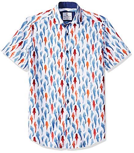 Azaro Uomo - Camisa de Manga Corta con Botones para Hombre, Nadar con Tiburones, Small