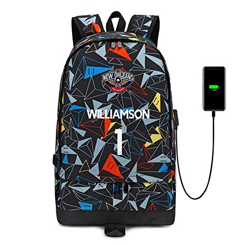 Haoshangzh55 Zaino Sport Pallacanestro New Orleans Pellicani # 1 Zion Lateef Williamson Basketball Fans Spalle Student Outdoor Training Shoe Bag