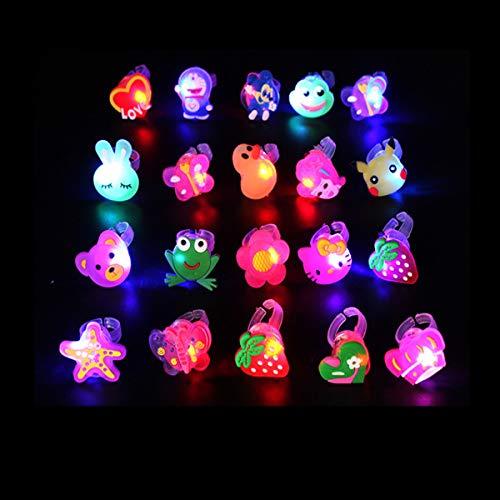 Xumier 50pcs Anillo de Dedo LED Niños Anillos Luminosos de Silicona Anillo de colores Decoración de fiesta de Halloween Navidad Víspera de Todos los Santos Regalos de cumpleaños para niños
