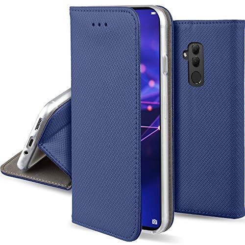 Moozy Funda para Huawei Mate 20 Lite, Azul Oscura - Flip Cover Smart Magnética con Soporte y Cartera para Tarjetas