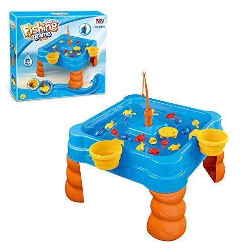 Water speeltafel Toy Fishing spel voor kinderen peuters, Children's Beach Toys Interactive Speltafel Summer Fun Vierkant Wiel van het water en de waterval