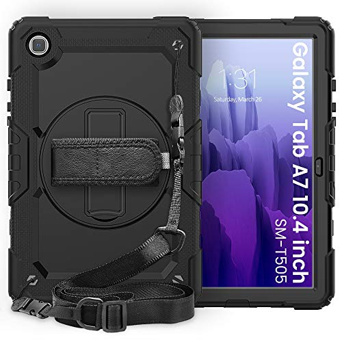 Funda para tablet Samsung Galaxy Tab A7 10.4' T500-T505 2020 3 capas a prueba de golpes, soporte giratorio de 360 grados, correa de mano y correa de hombro PC+funda protectora de silicona