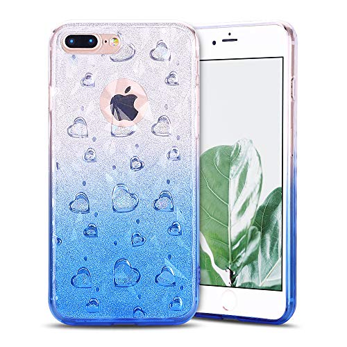 Anfire-ES Funda iPhone 7 Plus/iPhone 8 Plus Transparente Carcasa Silicona Case Flexible Gel TPU Bumper Tapa Antigolpes Anti Rasguños Suave Protector Caso Cubierta Trasero Color de Degradado - Rosa