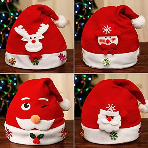Sombreros De Navidad para Adultos - Paquete De 4 Gorras De Navidad De Papá Noel Lindo Muñeco De Nieve Elk, Decoración De Tela No Tejida Sombrero Fiesta Atrezzo Festivo Sombrero, como Se Muestra,