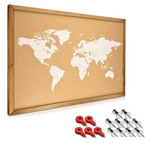 Navaris Bacheca in sughero 70x50 cm - Lavagna in sughero con cornice in legno 15 puntine e set di fissaggio - Cork Memo Board con mappamondo