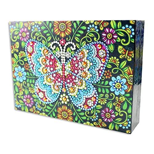 Joyero de embalaje de escritorio organizador de almacenamiento de regalo anillos de viaje portátil collar brazo para mujeres niñas PU cuero vitrina DIY 5D pintura diamante caja de joyería hogar