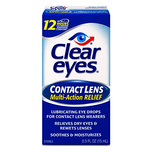 Clear Eyes Contact Lens Multi-Action Relief Eye Drops, Soothes & Moisturizes, 0.5 fl oz
