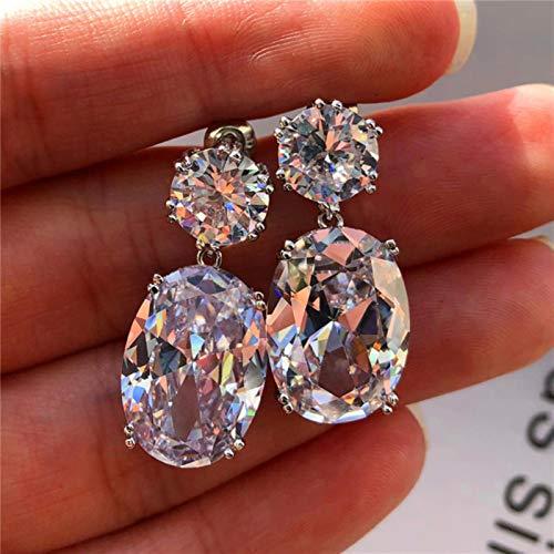 TGBN 1pc Simple Stylish Oval Women Drop Earrings Cubic Zirconia Earring Trendy Elegant Female Accessories
