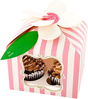 "Pastry Tek Pink Paper Flower Top Cupcake Window Gift Box - Stripes, Fits 4-7"" x 7"" x 5"" - 100 count box - Restaurantware"
