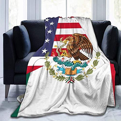 XCNGG AmericaMexico Flag Ultra Soft Micro Fleece Manta Edredón Ligero para sofá, Dormitorio, Oficina, Viajes