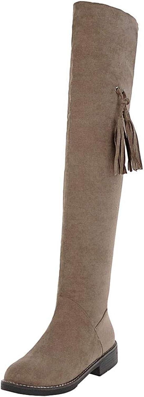 CularAcci Women Flat Above The Knee Boots Zipper