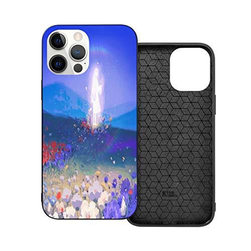 Carcasa de goma para iPhone 12 con diseño de chica brillante en el mar de flores y cámara de protección para IP12 Pro-6.1