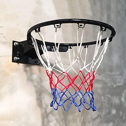 Aro de Baloncesto Canasta Tableros Montaje en Pared Aro de Baloncesto con Resorte Doble, Easy Dunk Portátil Borde de Baloncesto por Juego Interior al Aire Libre, Tornillos incluidos (Color : Black)