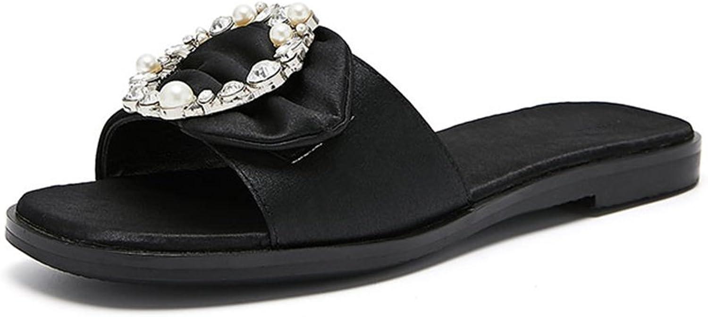 JIANXIN Frauen Schuhe Elegant Perle Dekoration Schwarz Und Grau Slipper Slipper Sandalen Sommer- Bequeme, Flache Unterseite Retro Quadratischer Kopf 35-39 Meter  fabrik direktverkauf
