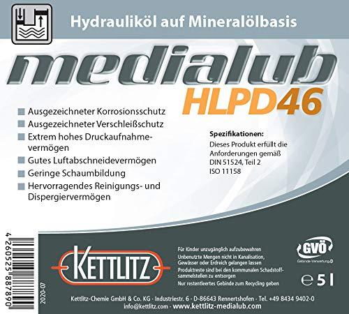 KETTLITZ-Medialub HLPD 46 Hydrauliköl auf Mineralölbasis - 5 Liter Gebinde